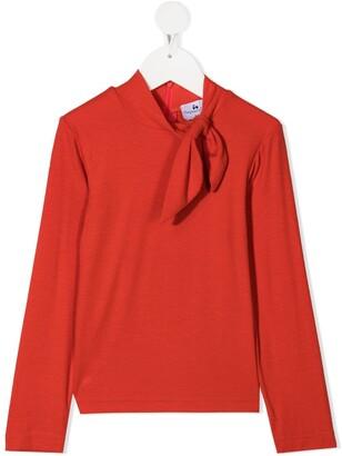 Raspberry Plum Oma tie-front top