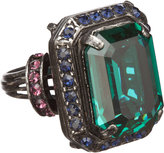 Lanvin Tutti Frutti Emerald-Cut Crystal Cocktail Ring