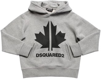 DSQUARED2 Leaf Printed Cotton Sweatshirt Hoodie