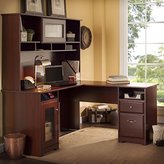 Bush Furniture Cabot Collection L-Desk with Hutch in Harvest Cherry