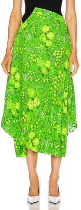 Balenciaga Twisted Pleat Skirt in Green | FWRD