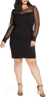 Julia Jordan Dot Mesh Long Sleeve Cocktail Dress