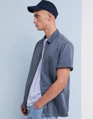Asos Design DESIGN utility zip through overshirt in dusty blue