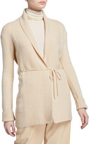 Vince Rib-Front Wool Cardigan with Waist Tie