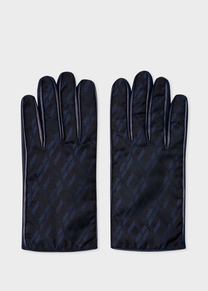 Paul Smith Men's Navy Leather Gloves With 'House' Jacquard Panel