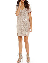 GB Sequin Drape Back Shift Dress
