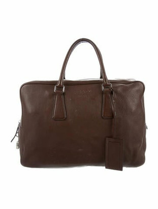Prada Vitello Daino Soft Briefcase Brown