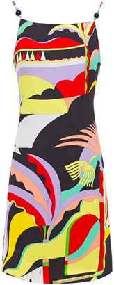 Emilio Pucci Bead-embellished Printed Gauze Mini Dress