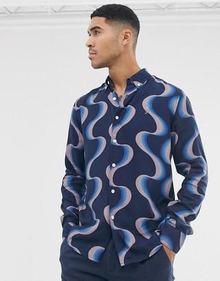 Farah Searling pattern shirt in navy