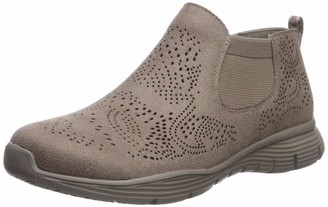 Skechers Women's Seager-ROOKY-Short Double Gore Medalian Laser Cut Bootie Chelsea Boot Dark Taupe 5.5 M US