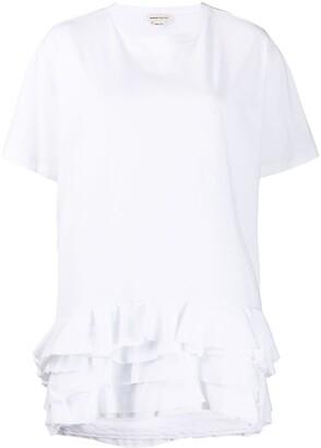 Alexander McQueen ruffle hem T-shirt