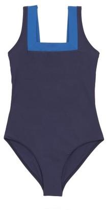 Casa Raki - Marina Square-neck Two-tone Swimsuit - Black Multi