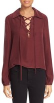 Frame Women's Lace-Up Silk Blouse