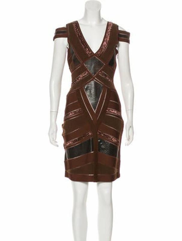 Herve Leger Beaded Cold-Shoulder Dress