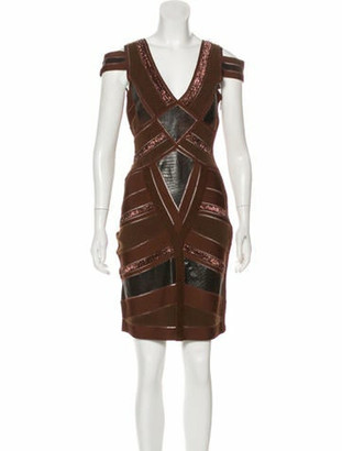 Herve Leger Beaded Cold-Shoulder Dress