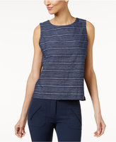 Eileen Fisher Organic Cotton-Linen Striped Shell