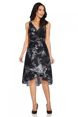 Adrianna Papell Pleated Jacquard High Low Dress In Black/Silver