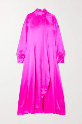 Christopher John Rogers Tie-detailed Pintucked Neon Silk-charmeuse Dress - Bright pink
