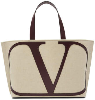 Valentino Beige and Purple Garavani Large VLogo Beach Tote