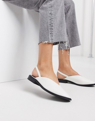 Asos Design DESIGN Mapping slingback flat shoes in white