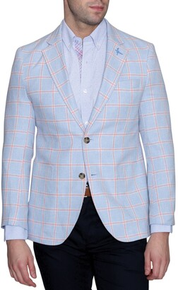 Tailorbyrd Blue Windowpane Two Button Notch Lapel Modern Fit Sport Coat