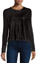 Majestic Leather-Front French Terry Top