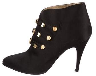 Gianni Versace Satin Pointed-Toe Booties