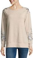 Liz Claiborne Long Sleeve Embroidered Sweatshirt
