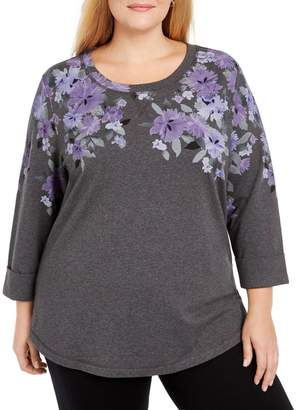 Karen Scott Plus Floral Cotton-Blend Sweatshirt