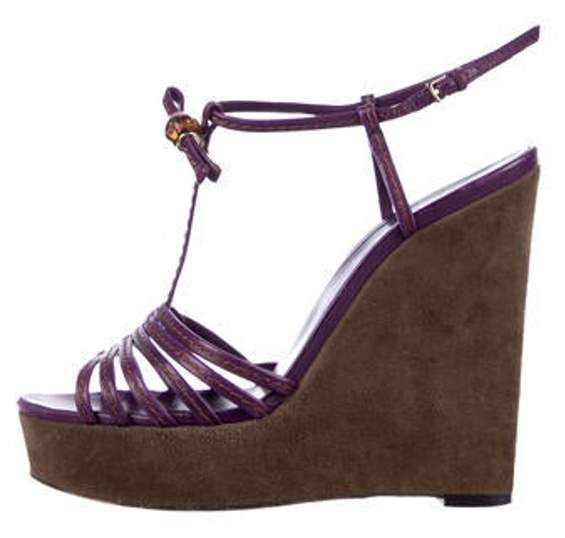 Gucci Leather Strap Wedge Sandals Purple Leather Strap Wedge Sandals