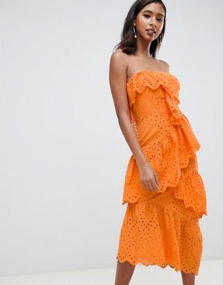 Asos Design DESIGN bandeau midi dress in broderie-Orange