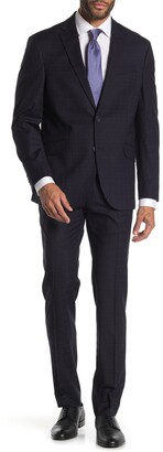 Kenneth Cole Reaction Navy Plaid Two Button Notch Lapel Trim Fit Suit