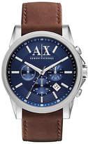 Armani Exchange Ax2501 Leather Strap Watch, Brown/blue