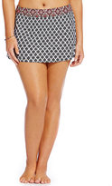 Alex Marie Plus Black Geo Border Print Banded Skirt