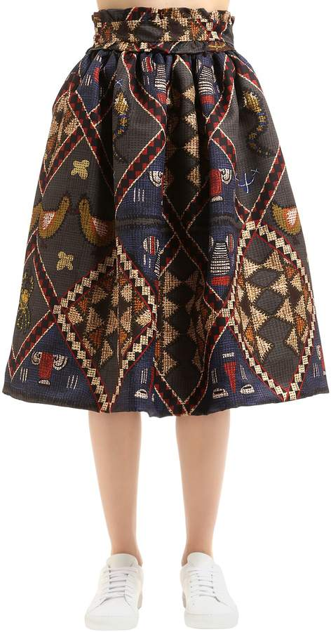 Stella Jean High Waist Printed Midi Skirt