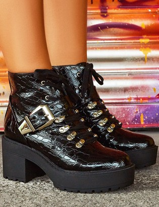 Public Desire Uk Attitude Patent Croc Chunky Sole Heeled Ankle Boots