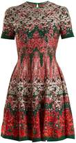 Alexander McQueen Floral-intarsia silk-blend dress