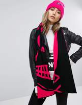 Cheap Monday Logo Scarf In Black And Pink