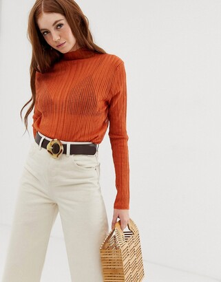 Raga Quin high neck sheer long sleeved top-Orange