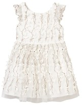 David Charles Ivory and Gold Leaf and Flower Applique Dress
