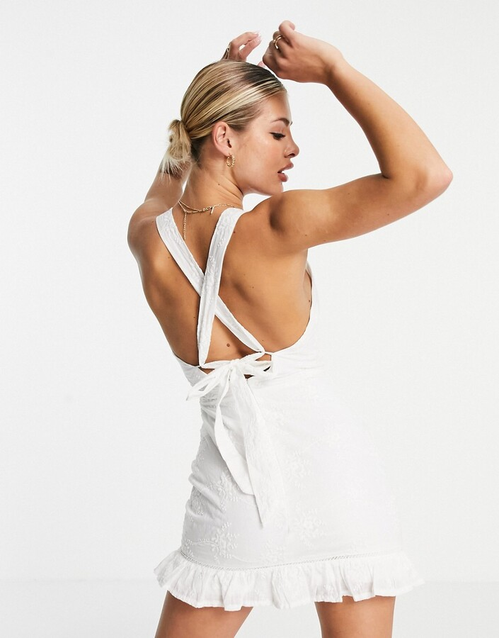 Thumbnail for your product : Parisian broderie anglais cross back mini dress with frill hem in white