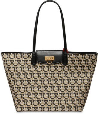 Salvatore Ferragamo ALL OVER GANCINI COATED CANVAS TOTE BAG
