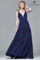 Faviana 7923 Chiffon v-neck evening dress with full skirt