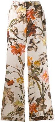 Off-White Floral-Print Pyjama Style Trousers