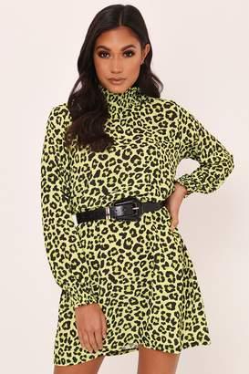 I SAW IT FIRST Lime Green Leopard Print Shirred Neck Mini Dress
