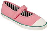 John Lewis Children's Mary Jane Stripe Lined Rip-Tape Pumps, Pink