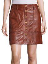MICHAEL Michael Kors Leather Snap-Front Skirt