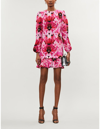 Alexander McQueen Abstract floral-print silk-crepe mini dress