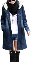 Tanming Women's Middle Long Single Breasted Hooded Denim Coat