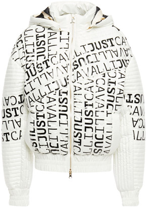 Just Cavalli Logo-print Quilted Shell Hooded Jacket